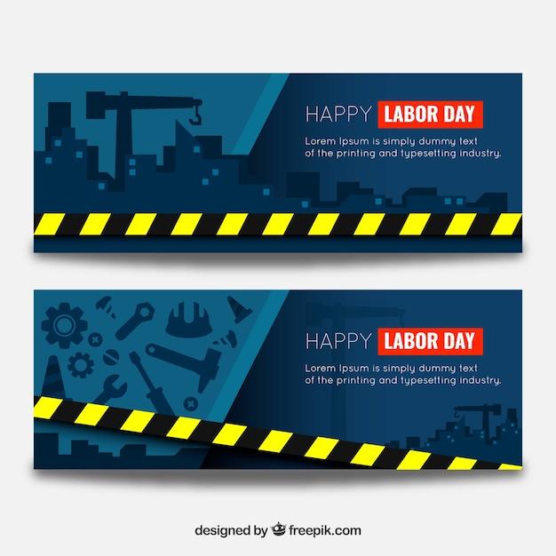 Bannières Pour Le Jour Du Travail Dans Les Travaux De Construction Vecteur gratuit