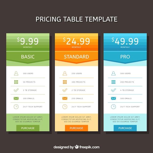 Bannières de prix avec des tarifs différents Vecteur gratuit