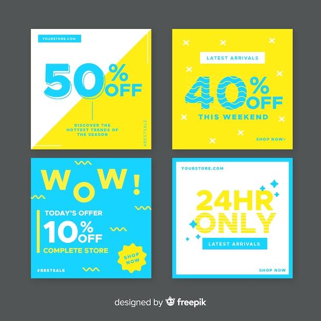 Bannières de promotion des ventes pour les médias sociaux Vecteur gratuit