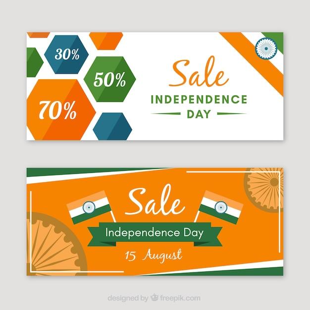Bannières Publicitaires Et Journées D'indépendance Indienne Vecteur gratuit