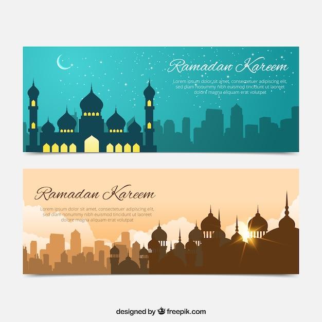 Bannières de ramadan beaux paysages Vecteur gratuit