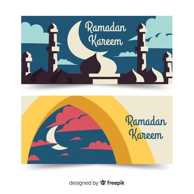 Bannières de ramadan plat Vecteur gratuit
