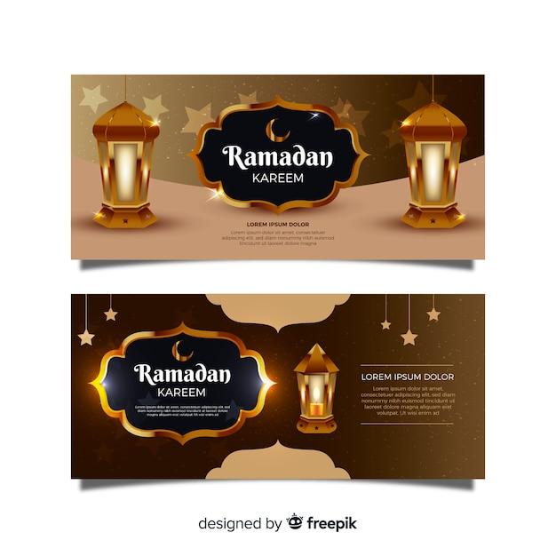 Bannières de ramadan réalistes Vecteur gratuit