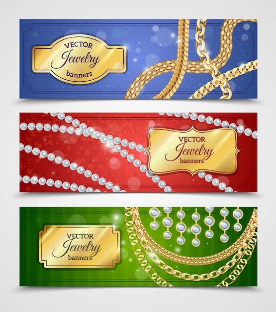 Bannières réalistes de bijoux avec des chaînes et des boucles d'oreilles Vecteur gratuit