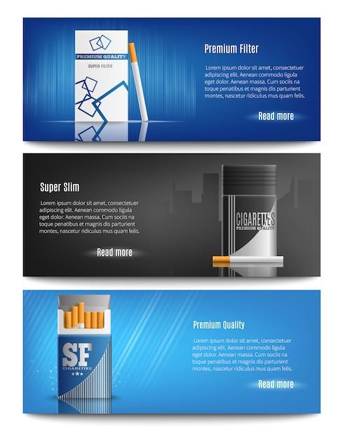 Bannières Réalistes De Paquets De Cigarettes Vecteur gratuit
