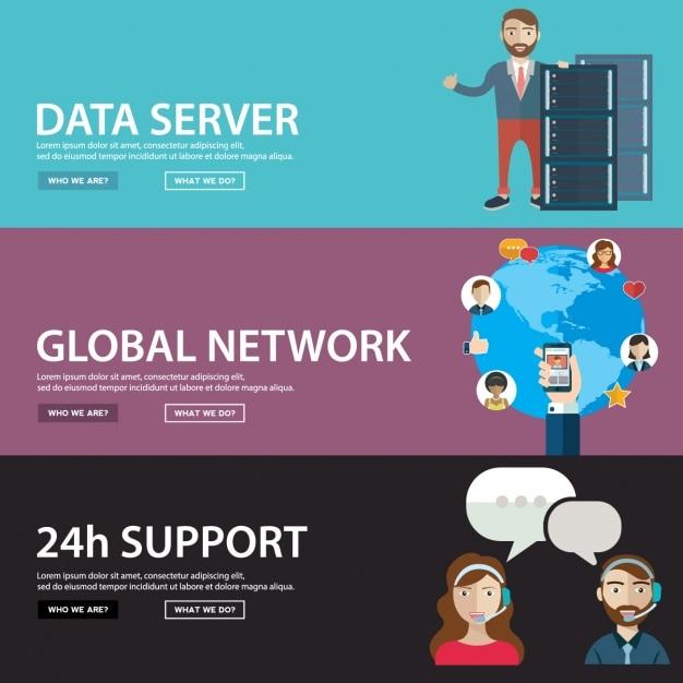 bannières réseau définies Vecteur gratuit