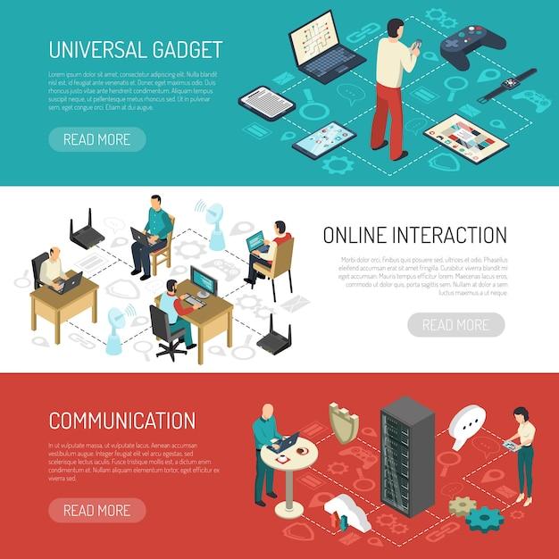 Bannières réseaux de communication internet Vecteur gratuit