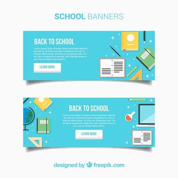 Bannières De Retour à L'école En Design Plat Vecteur gratuit