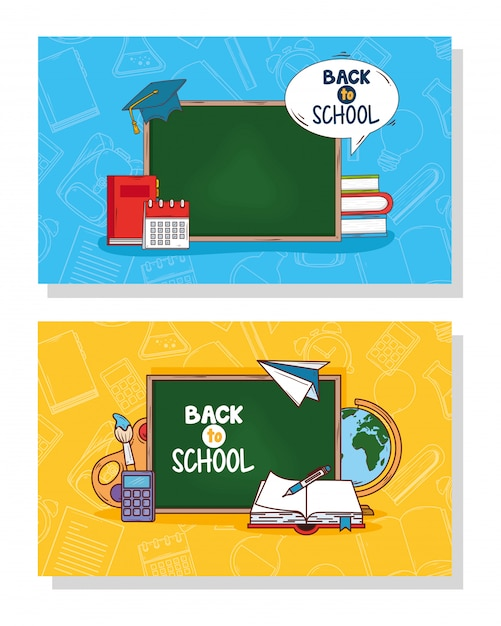 Bannières De Retour à L'école Et Fournitures D'éducation Vecteur Premium