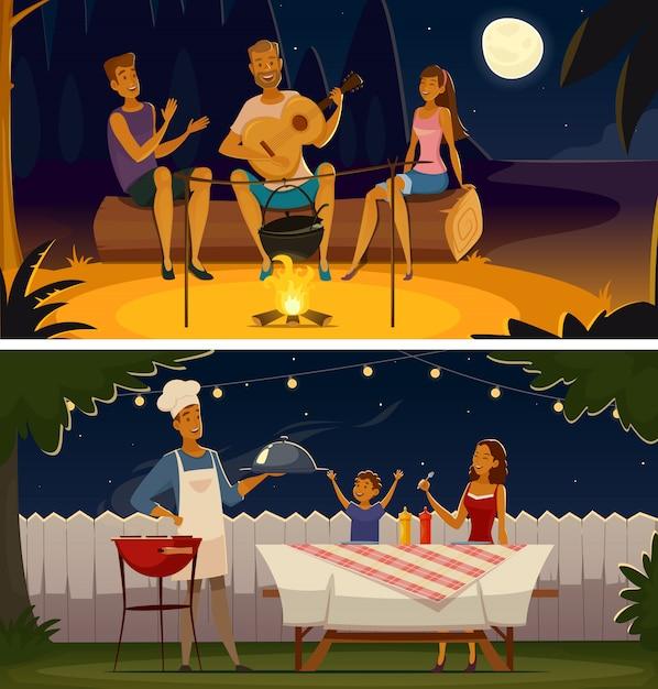 Bannières rétro de soirée barbecue de dessin animé Vecteur gratuit