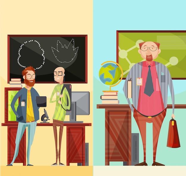 Bannières rétro verticales avec des enseignants qui parlent près du bureau, spécialiste en éducation avec mallette et illustration vectorielle livre isolé Vecteur gratuit