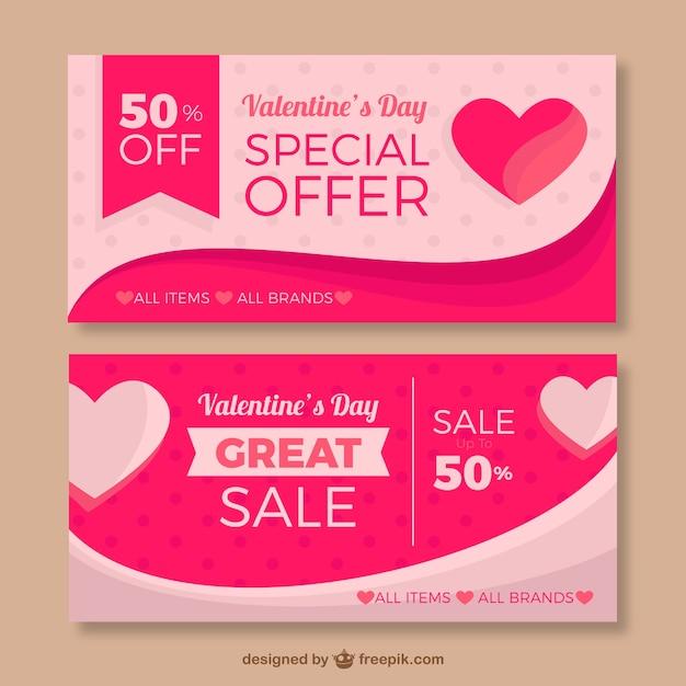 Bannières Roses Avec Des Coeurs Et Des Offres Spéciales Pour Saint Valentin Vecteur gratuit