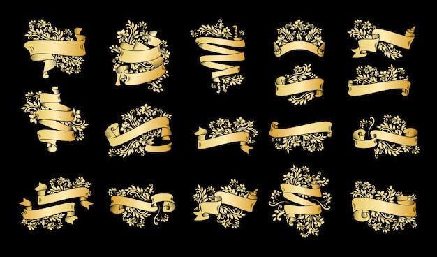 Bannières de ruban vintage or avec des feuilles et des fleurs Vecteur gratuit