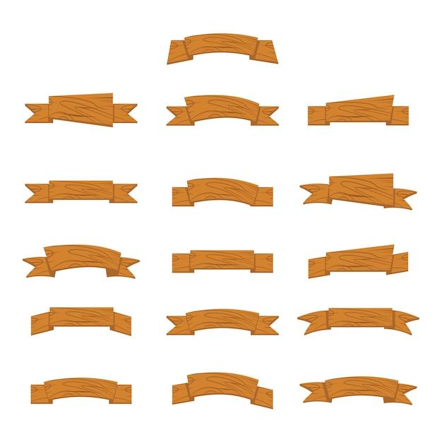 Bannières et rubans en bois de dessin animé pour le jeu de l'interface utilisateur Vecteur Premium