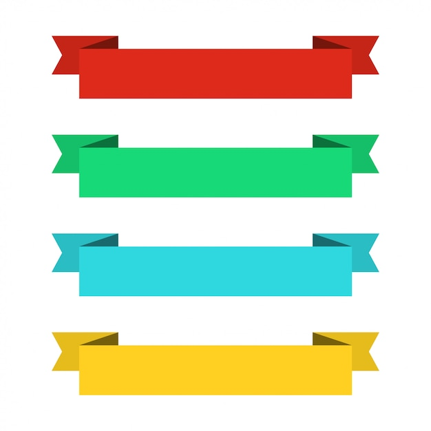 Bannières de rubans plats. rubans au design plat. ensemble de vecteurs de rubans colorés Vecteur Premium