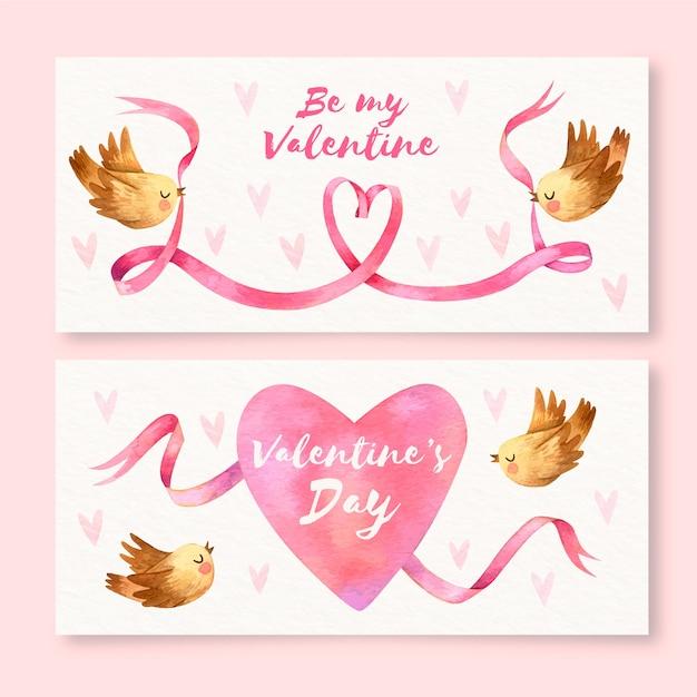 Bannières De Saint Valentin Aquarelle Vecteur gratuit