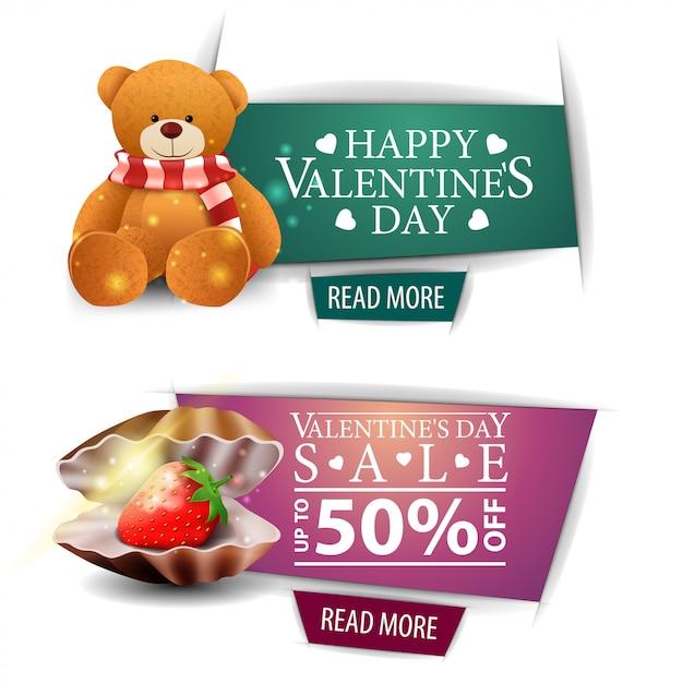 Bannières de la saint-valentin avec boutons, coquillage et ours en peluche Vecteur Premium