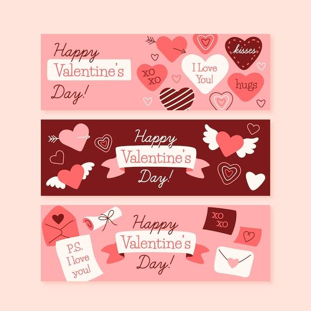 Bannières De La Saint-valentin Coeurs Dessinés à La Main Vecteur gratuit