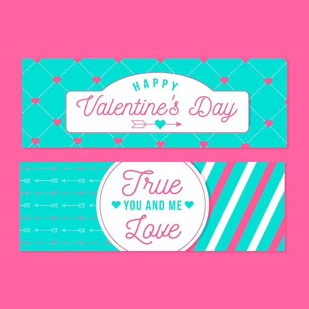 Bannières de la saint-valentin avec coeurs et flèches Vecteur gratuit