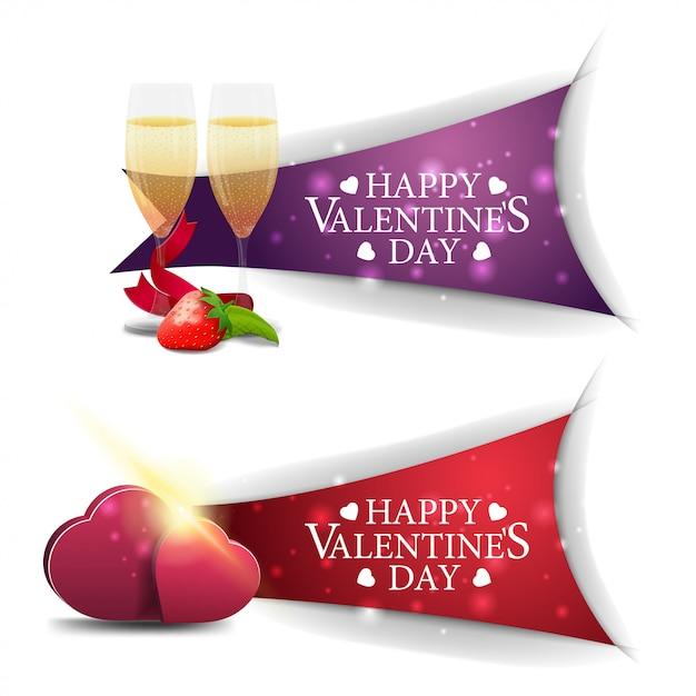 Bannières saint valentin avec des coupes de champagne et des coeurs Vecteur Premium