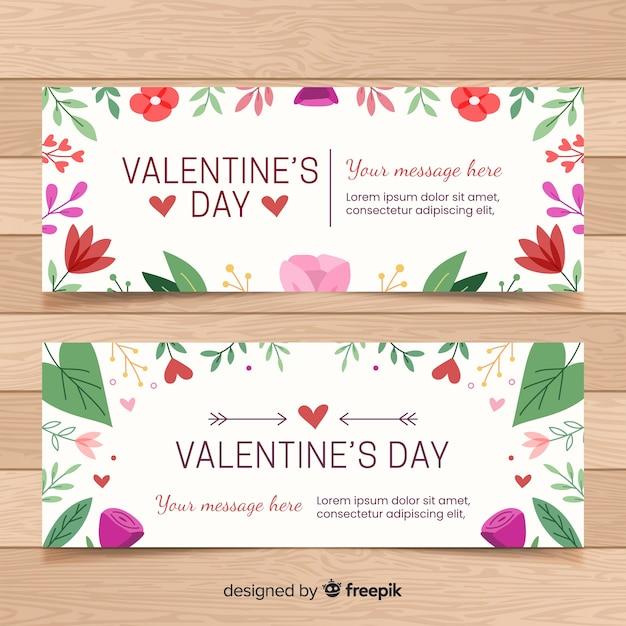 Bannières de saint valentin dessinés à la main Vecteur Premium