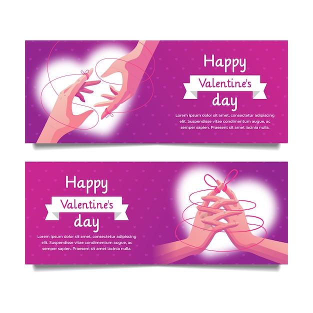 Bannières De Saint Valentin Dessinés à La Main Vecteur gratuit