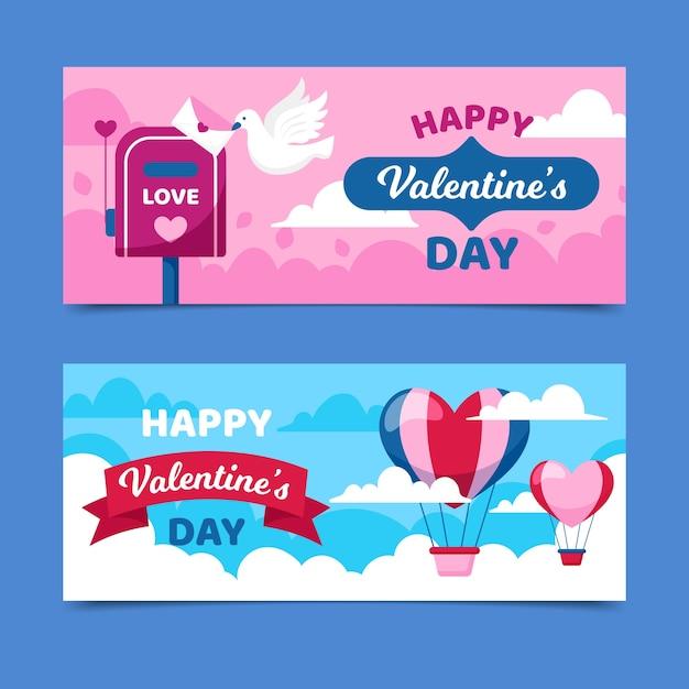 Bannières de la saint-valentin avec des montgolfières Vecteur gratuit