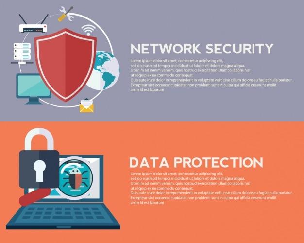 Bannières De Sécurité Internet Vecteur gratuit