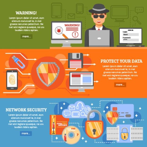 Bannières de sécurité réseau Vecteur gratuit