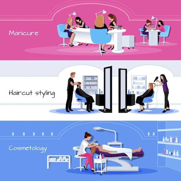 Bannières de service de salon de beauté avec des clients et des travailleurs dans différentes situations Vecteur gratuit