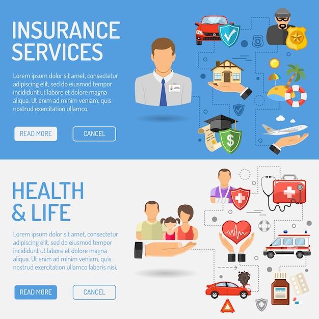 Bannières de services d'assurance Vecteur Premium