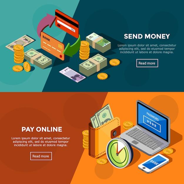 Bannières de services bancaires isométriques Vecteur gratuit