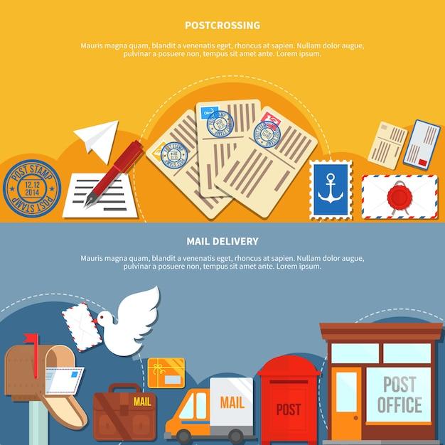 Bannières de services postaux Vecteur gratuit