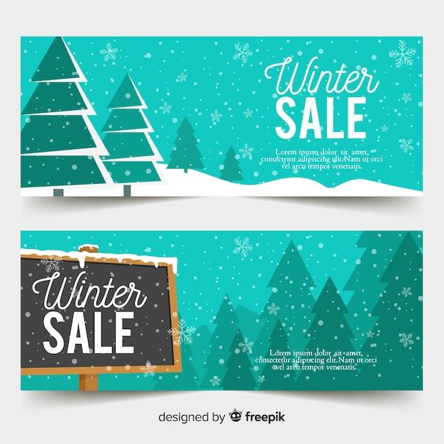 Bannières de soldes d'hiver Vecteur gratuit