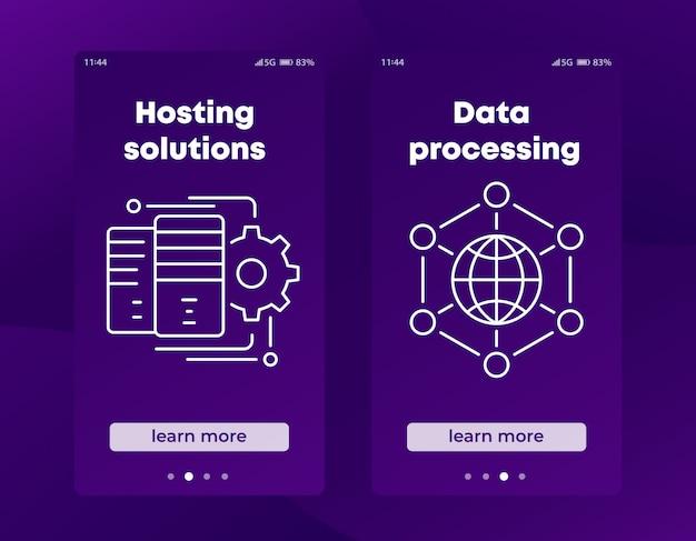Bannières De Solutions D'hébergement Pour Les Médias Sociaux Et Le Web Vecteur Premium