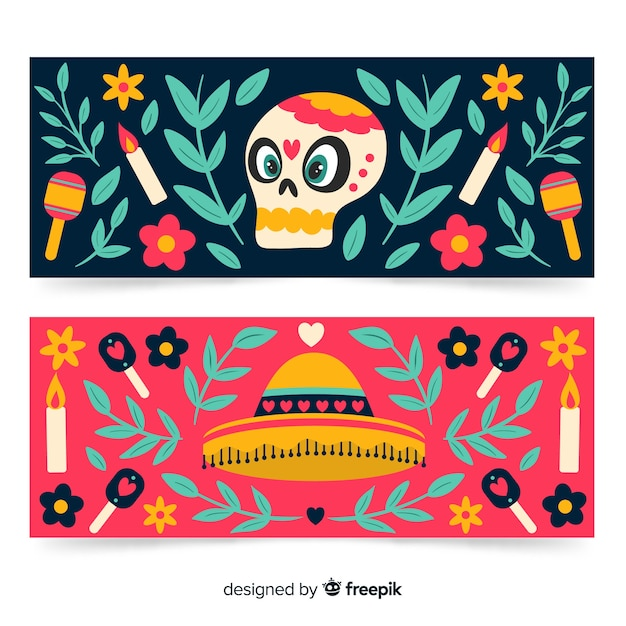 Bannières sombrero et skull pour l'événement dia de muertos Vecteur gratuit