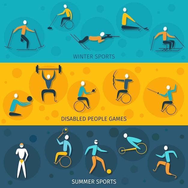 Bannières De Sport Pour Handicapés Vecteur gratuit