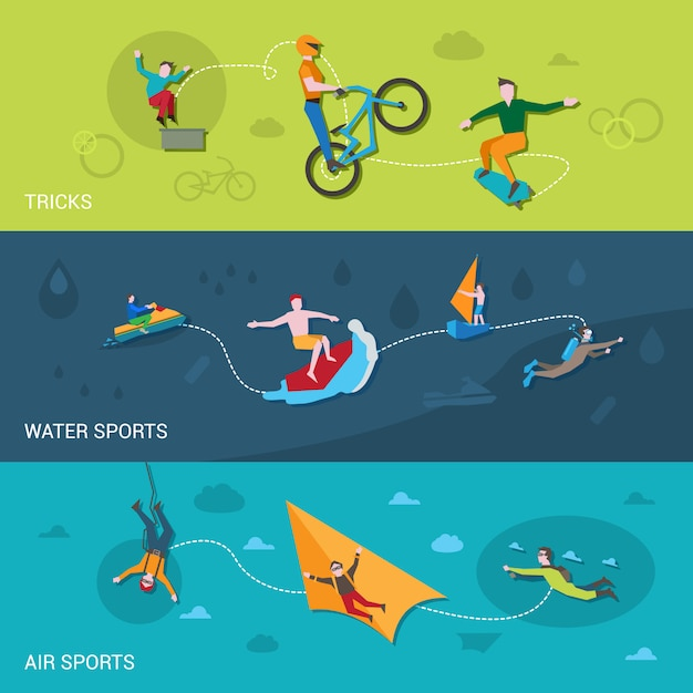 Bannières de sports extrêmes Vecteur gratuit
