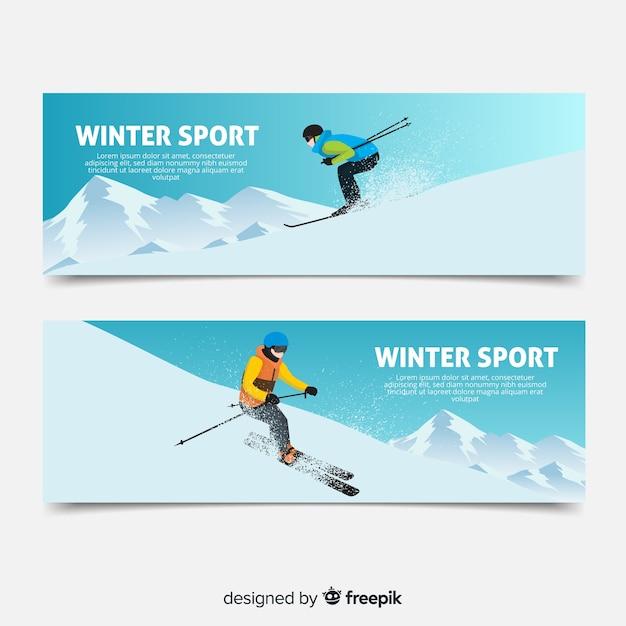 Bannières de sports d'hiver Vecteur gratuit