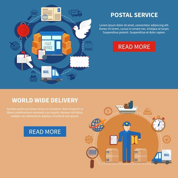 Bannières style plat de service postal Vecteur gratuit