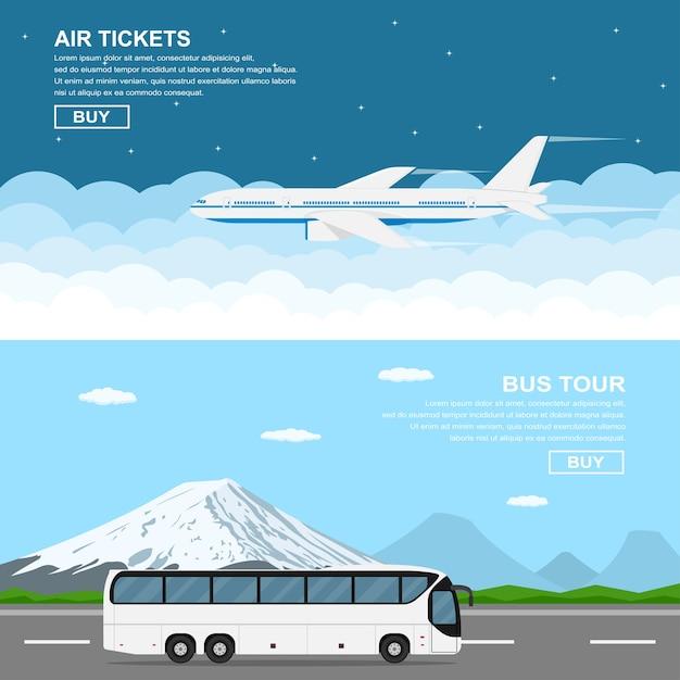 Bannières De Style, Volant Plaine Au-dessus Du Ciel, Bus En Mouvement Devant Les Montagnes, Illustration De Style Plat Vecteur Premium