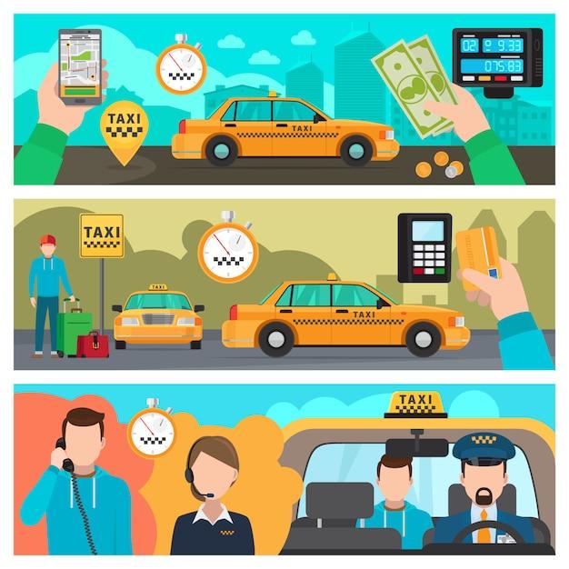 Bannières De Taxi Vecteur Premium