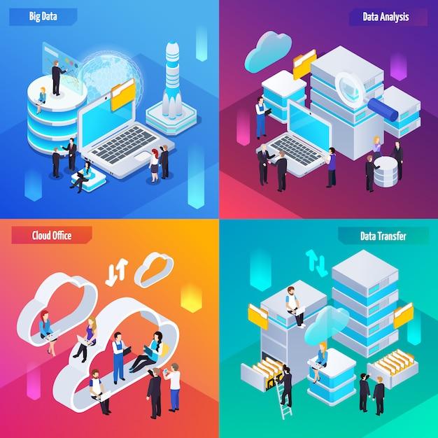 Bannières De Technologie D'analyse De Big Data Vecteur gratuit