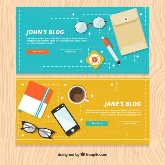 Bannières technologiques de blog en design plat Vecteur gratuit