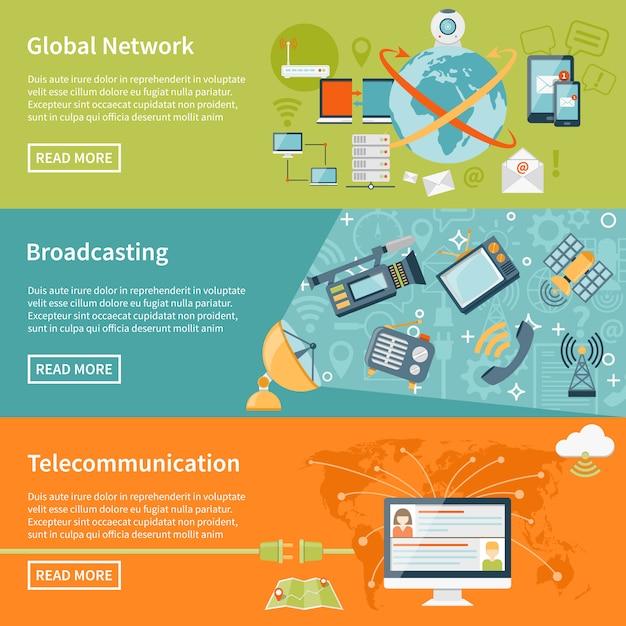 Bannières De Télécommunications Vecteur gratuit