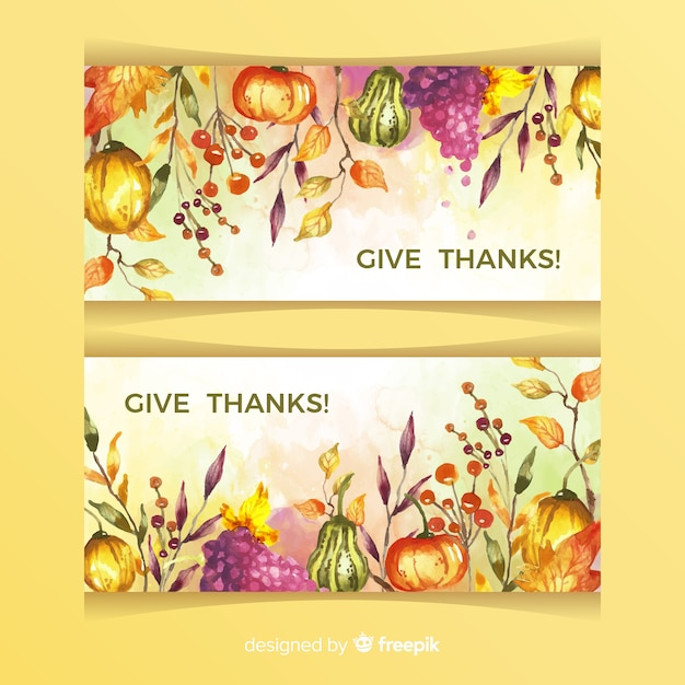 Bannières De Thanksgiving Aquarelle Vecteur gratuit