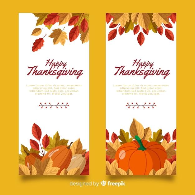 Bannières de thanksgiving au design plat Vecteur gratuit