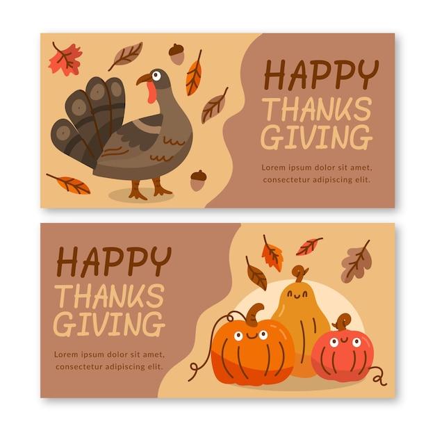 Bannières De Thanksgiving Dessinées à La Main Vecteur gratuit