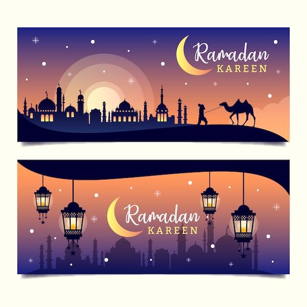 Bannières Avec Thème Ramadan Vecteur Premium