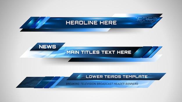 Bannières et tiers inférieurs pour la chaîne d'informations Vecteur Premium